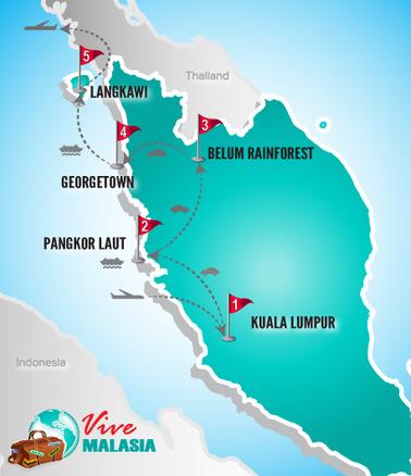 Malasia Viajes | Mapa Luna de Miel I