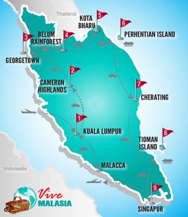Malasia Viajes | Mapa Destinos Estrella