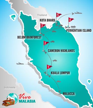Viajes Malasia | Mapa grupos